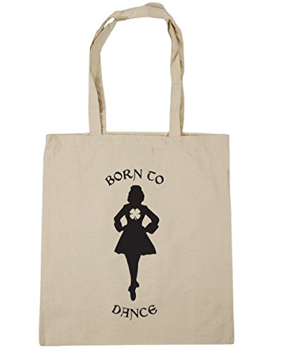 HippoWarehouse Born to Irish Dance bolsa de la compra bolsa de playa 42 cm x38 cm, 10 litros Natural