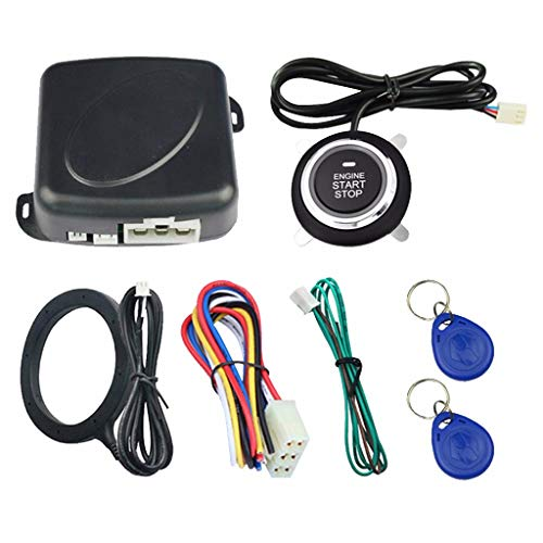 charts_DRESS Smart RFID Car Alarm System Push Engine Start Button & Keyless Go Fits for Most DC12V Cars Auto Stop Lock Ignition Switch Entry Anti-Theft (Black)