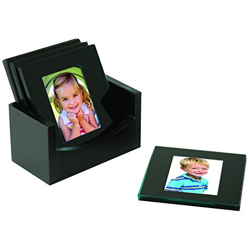 Black Glass Photo Coasters - Set of -