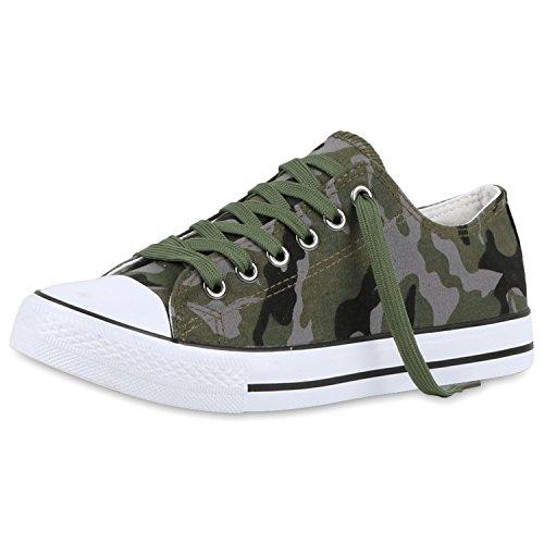 best-boots Damen Turnschuh Sneaker Slipper Halbschuhe sportlich Camouflage Nuovo