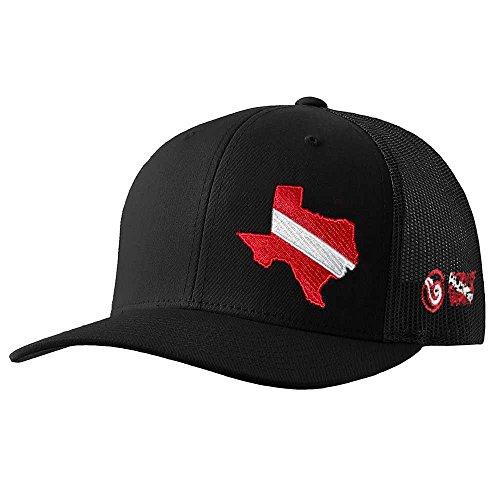 Diver Hat (Born of Water Texas Scuba Diver Down Flag Trucker Hat)