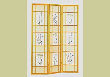 Natural Framed Floral Room Divider Screen By Coaster Furniture