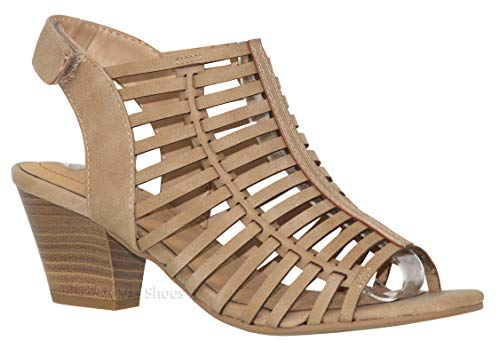 - MVE Shoes Women's Open Toe Buckle Straps Block Heel - Low Stacked Wood Heeled Sandals - Vegan Leather Sandals-Open Toe Back Zipper Chunky Heel Pumps, Camel dispu Size 7.5