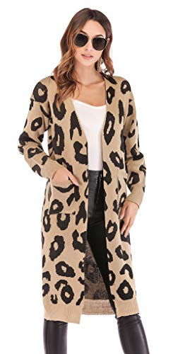 a4182208df6f BTFBM Women Long Sleeve Open Front Leopard Knit Long Cardigan Casual ...