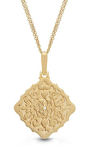 With You Lockets Yellow Gold-Diamond-Square-Custom Photo Locket Necklace-18-inch Chain-The Mimi -