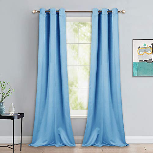 NICETOWN Blue Room Darkening Panels - Nursery & Infant Care Drapes, Extra Long 90