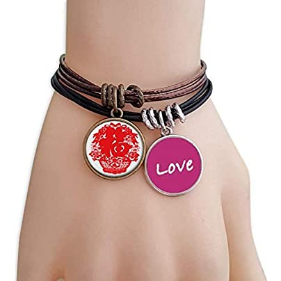 Metftus Red Chinese Lantern Traditional Pattern Love Bracelet Leather Rope Wristband Couple Set Estimated Price -