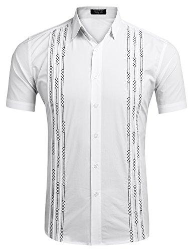 (COOFANDY Mens Short Sleeve Guayabera Cuban Shirt Wedding Party Beach Dress Shirt (Large, White))
