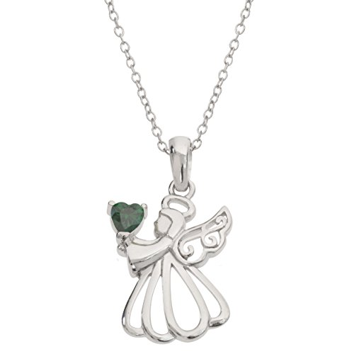 "Birthstone Green May Pendant (Hallmark Jewelry Women's Sterling Silver Angel with Emerald Green Cubic Zirconia May Birthstone Pendant Necklace, 18"" Chain)"