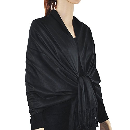 Paskmlna Large Solid Color Pashmina Shawl Wrap Scarf 80' X 27' (Black#1)
