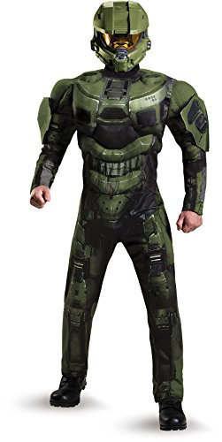 Master Chief Halloween Costumes (Disguise Men's Halo Deluxe Muscle Master Chief Adult Costume, Green, X-Large)