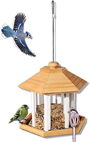 庭用屋外フィーダー 屋外の伝統的な木製の耐候性の鳥の送り装置をきれいにし、補充する鳥の送り装置の家の設計掛かる装飾的な鳥のテーブルの自由な地位 森林の荒野に適しているか、庭に設置されている (色 : 黄, サイズ : Free size)