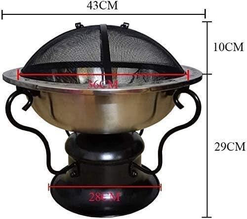 HIZLJJ Heavy Duty Fonte Fire Pit |Grand Bois Foyer |Patio extérieur Décor, extérieur Carbone Poêle intérieur Poêle Charbon Acier Inoxydable Spark Screen & Accessoires Inclus