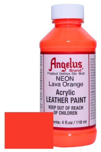 Angelus Neon Acrylic Leather Paint-4oz.- Lava Orange Neon