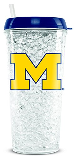 Duck House NCAA Michigan Wolverines 16oz Crystal Freezer Tumbler with Lid and Straw ()