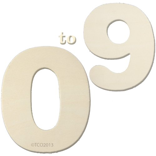 The Crafts Outlet 4-Inch Wooden Number Set, 1/4-Inch Thick, Numbers 0-9 (Cardboard Numbers)