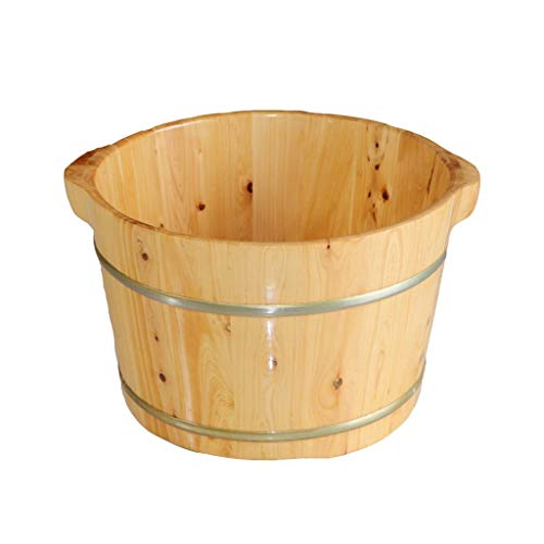 Foot Bath Barrel, Sturdy and Durable Natural Cedar Wood Sauna Foot Tub Can Soak Massage Feet to Improve Sleep (Color : A, Size : 26cm(10.2in))
