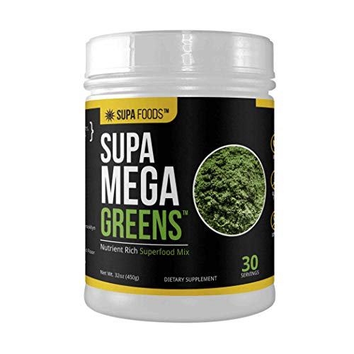 Supa Mega Greens, Organic Plant-Based Superfood Mix with Spirulina, Wheatgrass, Alfalfa Grass, Sun Chlorella, Barley Grass, Ginger, Dandelion, 30 Servings