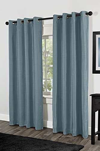 LuxuryDiscounts 2 Piece Solid Slate Blue Faux Silk Grommet Window Curtain Treatment Panel Drapes 54