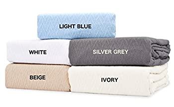 """TreeWool, 100% Soft Premium Cotton Thermal Blanket Light Weight Easy Care Soft Comfortable and Warm (King Size - 90"""" x 108"""", Chevron Weave, Beige)"""