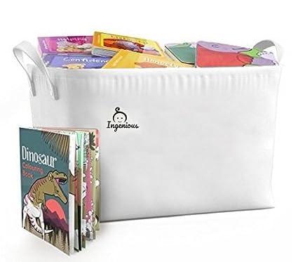 Merveilleux Ingenious 100% Cotton Canvas Baby Book Storage Bin Basket   Large