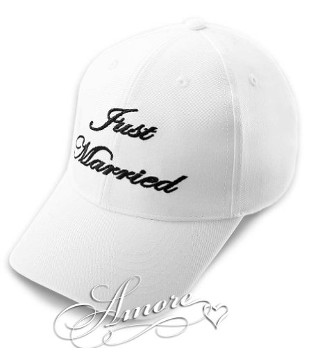 JUST MARRIED Wedding Baseball Cap WHITE Hat with Black Embroidery 100% (Gift Basket Just Basket)