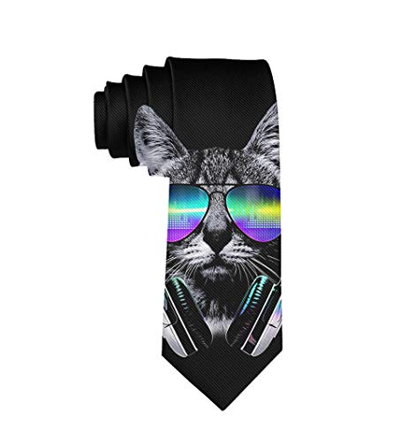 (Men's Tie Fashion Neckties Dj Cat With Earphone Pet Animal Necktie, Wedding Party Meeting Outfit)