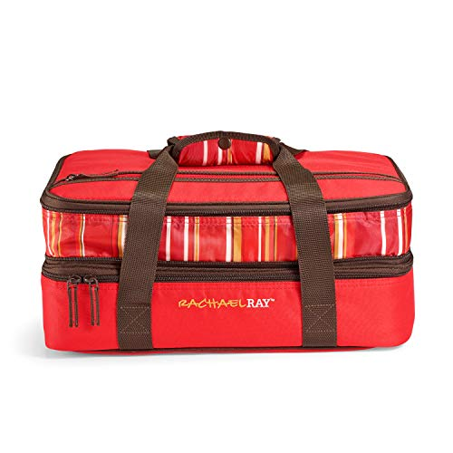 Rachael Ray Expandable Potlucker Bag Food Saver, 15-Cup Food Saver, Red Stripe