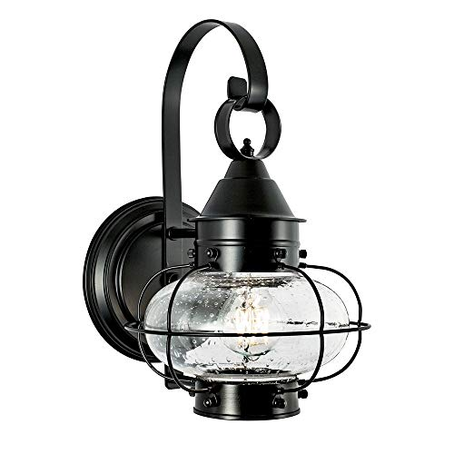 - Norwell Lighting 1323-BL-SE Cottage Onion - One Light Outdoor Small Wall Lantern, Black Finish with Seedy Glass
