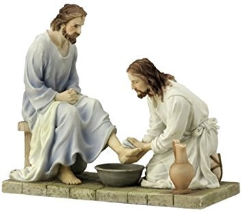 8.5 Inch Jesus Washing His Disciple's Feet - Light Color (Jesus Washing Disciples Feet)