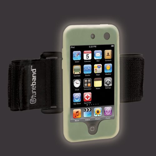Tuneband for iPod touch 4th Generation (Model A1367, 8GB/16GB/32GB/64GB), Grantwood Technology's Armband, Silicone Skin, and Screen Protector, GLOW IN THE DARK -