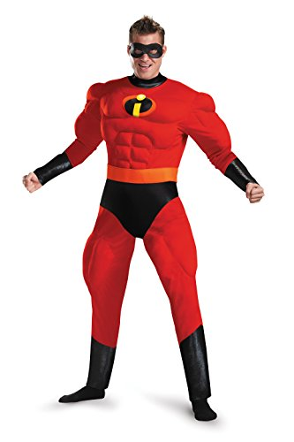 Disguise Men's Plus Size Mr. Incredible Deluxe Muscle Adult Costume, red, XXL (50-52)