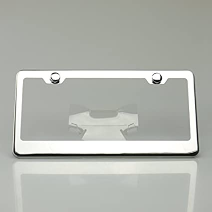 Chrome 100% Stainless Steel Polish Mirror License Plate Frame Holder Tag W/  Chrome Cap