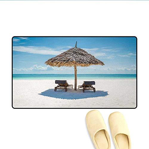 (Door Mats,Wooden Sun Loungers Facing Eastern Ocean Under a Thatched Umbrella in Zanzibar,Bath Mats for Bathroom,Turquoise Cream,Size:32