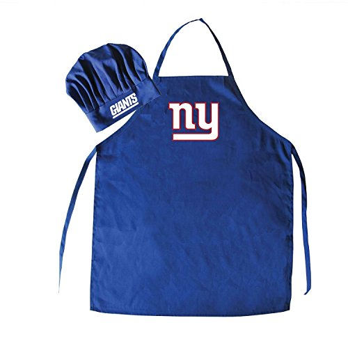 NFL New York Giants Chef Hat and Apron Set, Navy, One Size ()