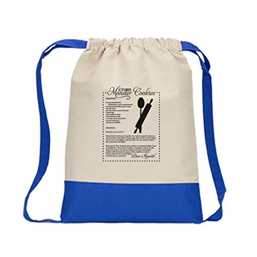 Baked Cookie Recipes (Drawstring Bag Canvas Soft Baked Monster Cookies Kitchen Recipe Style In Print Royal Blue)