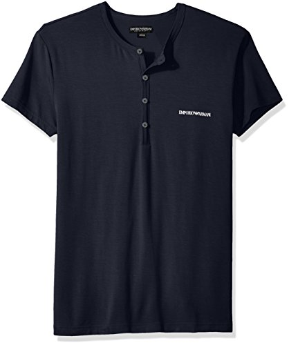 Emporio Armani Men's Stretch Modal Henley Top, Marine, M by Emporio Armani