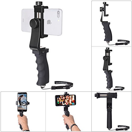 - Ergonomics Smartphone Stabilizer Hand Grip Selfie Stick Mobile Cell Phone Clamp Mount Handle Holder We-media Vlog Video Rig Compatible for All 60mm-100mm Width iPhone Samsung (Landscape+Portrait Mode)