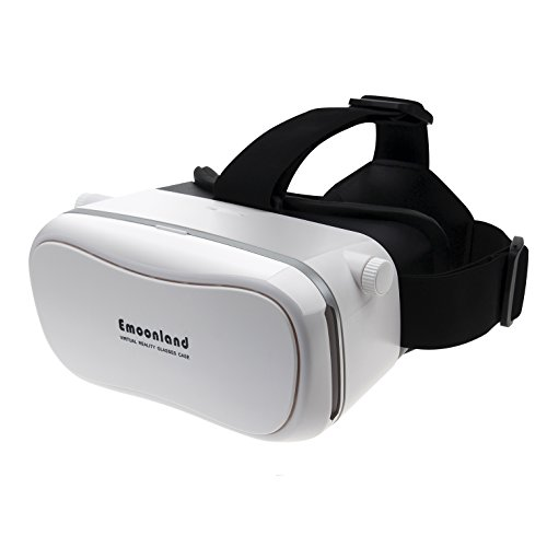 "VR Headset,Emoonland 3D VR Virtual Reality Headset 3D Video Movie Game VR Glasses Headset Head-mounted Headband Adjust Cardboard for 4.0"" - 6.0"" Smartphones iPhone Samsung IOS Android Devices - White"