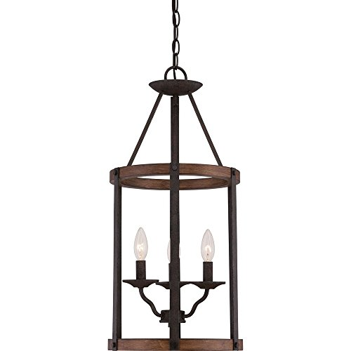 Quoizel QF1840RK 3-Light Quoizel Fixture Foyer Piece in Rustic Black For Sale