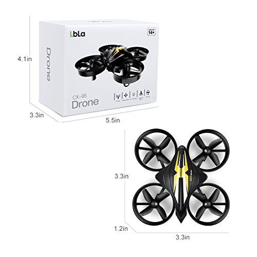 LBLA Mini Drone, 2 4GHz 4CH 6-Axis Headless Mode RC Quadcopter with Bonus  Battery for Beginners(Black)