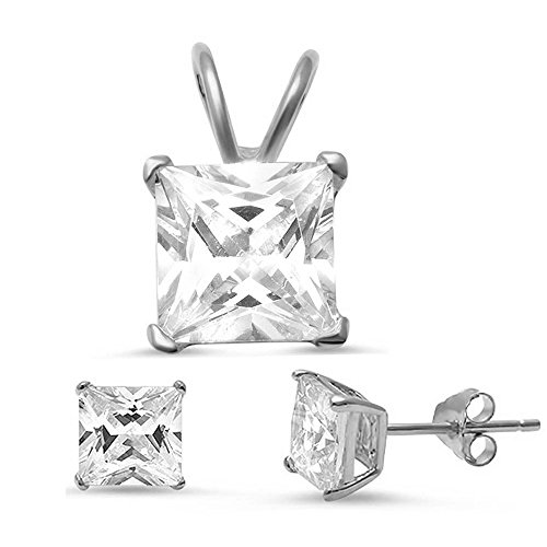 Princess Cut Simulated Gemstone Pendant & Earring .925 Sterling Silver Solitaire Set (Clear Cubic Zirconia) (Princess Cut Earring Set)