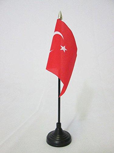 BANDIERA DA TAVOLO TURCHIA 15x10cm punta dorata - PICCOLA BANDIERINA TURCA 10 x 15 cm - AZ FLAG