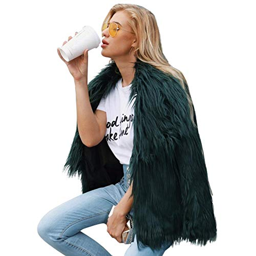 sintética Abrigada Abrigo Sintética Outwear Piel Abrigo Faux Shaggy Mujer e InviernoF0001 Mujer de Chaqueta Piel Fur Invierno Chaqueta Mujeres Biback Una Verde Otoño Coat xqa4nR4PH