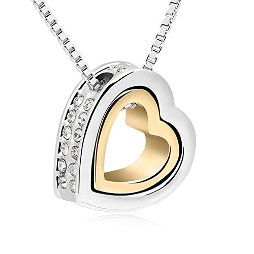 - Xingzou 18K Gold,White Gold Plated Dual Heart Pendant Necklace with Swarovski Elements Clear Crystal