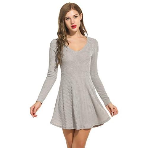 db0c854601 Zeagoo Women s Plus Size Long Sleeve Knitting Sexy Casual Mini Dress  well-wreapped