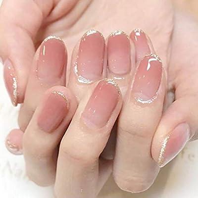 Qulin, uñas postizas para niñas color crema, uñas postizas de ...