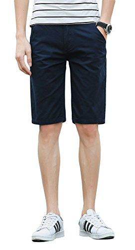 Plaid&Plain Men's Slim Fit Flat Front Twill Cotton Chino Shorts Navy 36