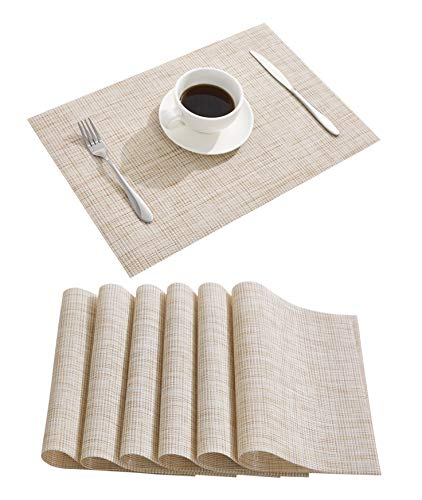 DOLOPL Place Mat Placemats Waterproof Placemats Set of 4 Table Mats Easy to Clean Non Slip Heat Resistant Wipeable Spring Farmhouse Placemat for Kitchen Dining Restaurant (Beige)