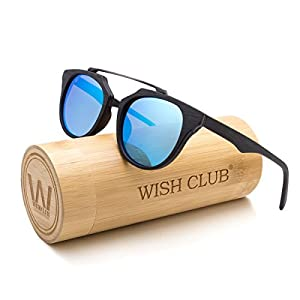WISH CLUB Wood Frame Polarized Bamboo Sunglasses Handmade Reflected Vintage Sunglasses for Women and Men